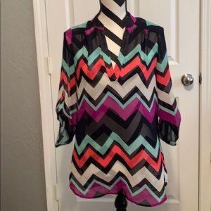 Tops - Multi colored chevron blouse